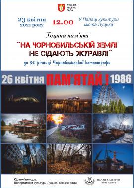 """Година пам'яті  """"На Чорнобильській землі не сідають журавлі"""""""
